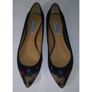 CYNTHIA ROWLEY Astor Suede Embroidered Flats 6.5